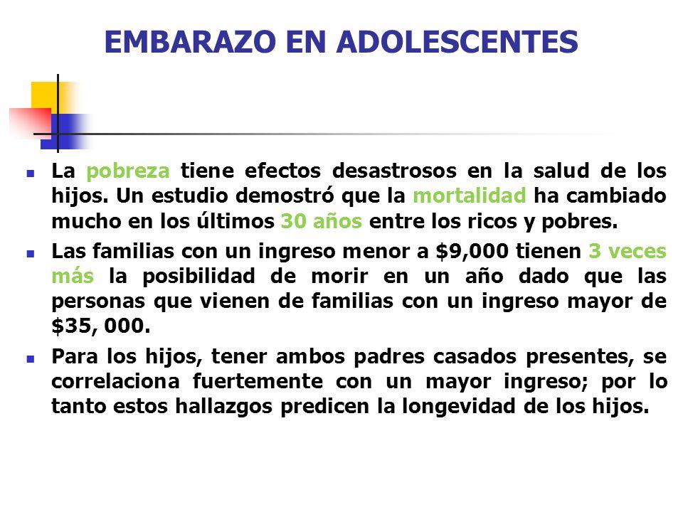EMBARAZO EN ADOLESCENTES La pobreza tiene efectos desastrosos en la salud de los hijos. Un estudio demostró que la mortalidad ha cambiado mucho en los