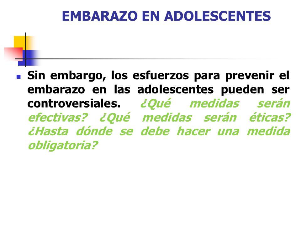 ANTECEDENTES: ESTADÍSTICAS DE EMBARAZO EN ADOLESCENTES 16 millones de embarazos entre 15 y 19 años11% de los nacimientos en el mundo.