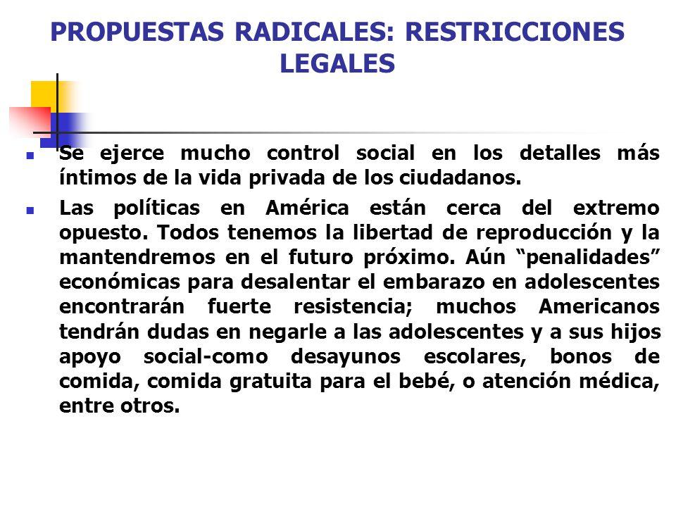 PROPUESTAS RADICALES: RESTRICCIONES LEGALES Se ejerce mucho control social en los detalles más íntimos de la vida privada de los ciudadanos. Las polít