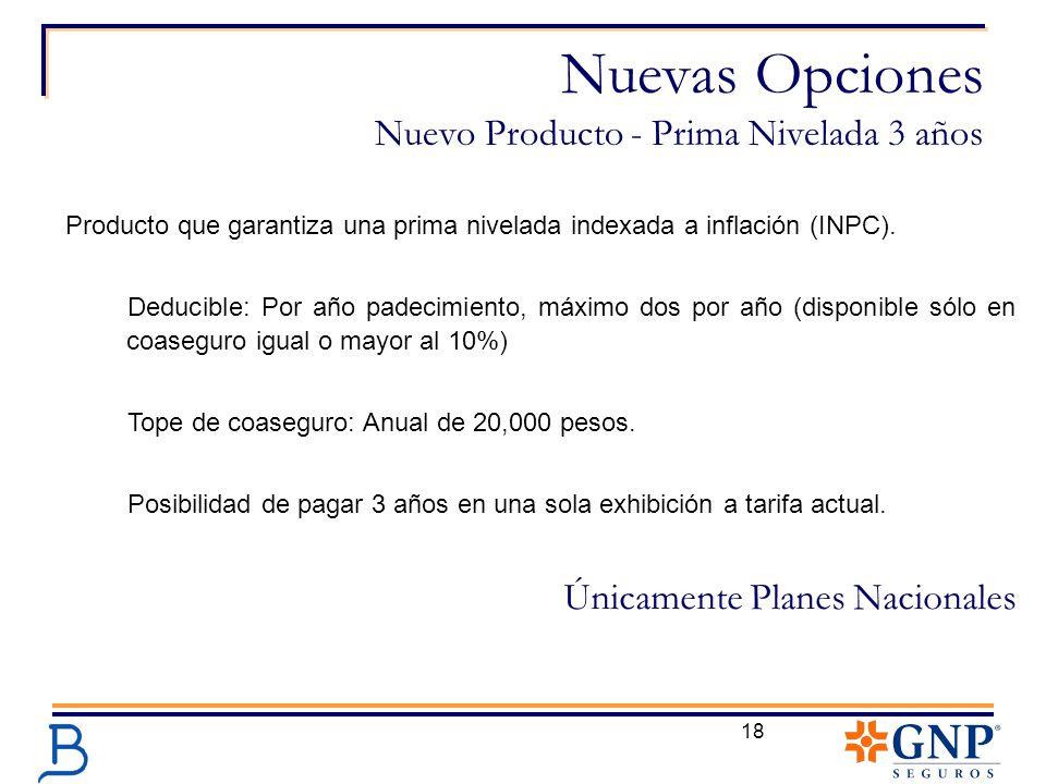 18 Nuevas Opciones Nuevo Producto - Prima Nivelada 3 años Producto que garantiza una prima nivelada indexada a inflación (INPC). Deducible: Por año pa