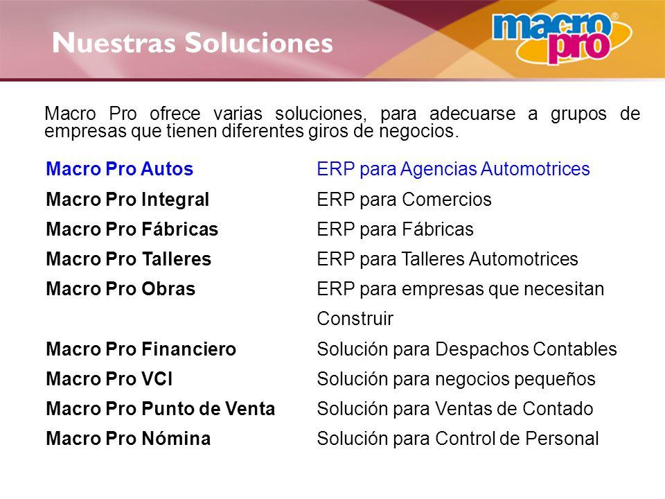 Macro Pro Autos Producto líder del mercado nacional con el mejor costo-beneficio Es un ERP robusto, abierto, sencillo, listo para usarse y probado a nivel nacional Ahorra tiempo en todas sus funciones.
