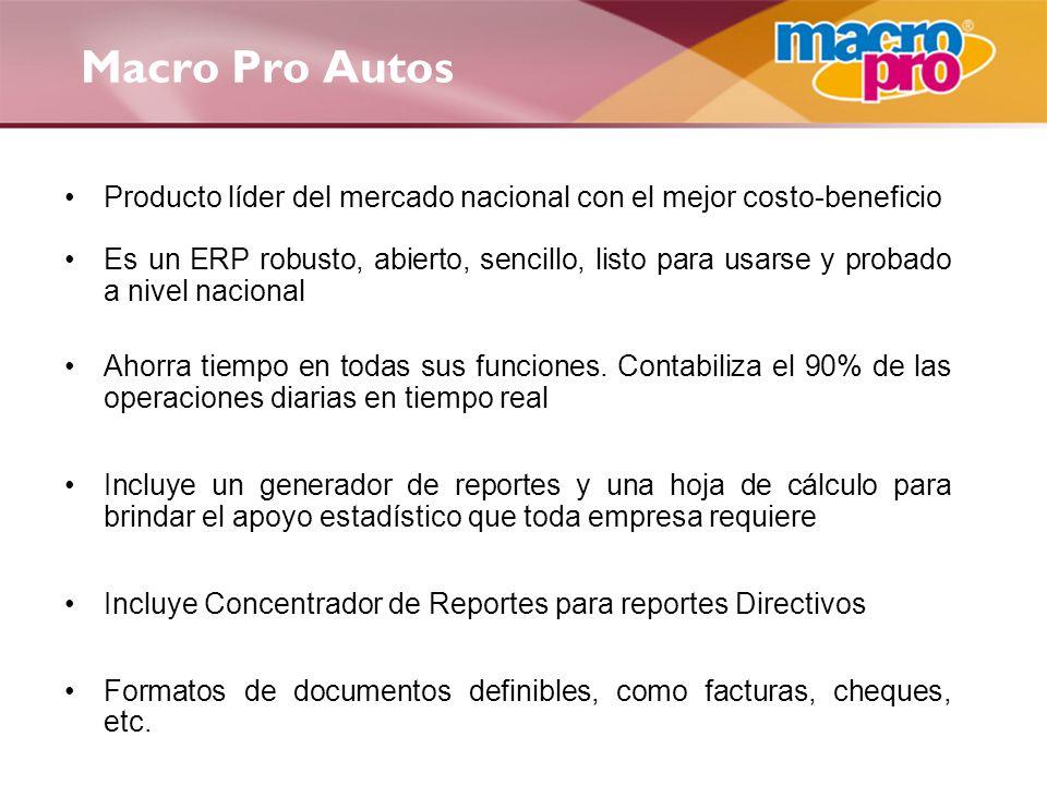 Macro Pro Autos Producto líder del mercado nacional con el mejor costo-beneficio Es un ERP robusto, abierto, sencillo, listo para usarse y probado a n