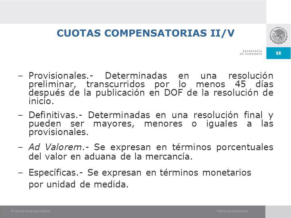 Fecha de elaboraciónFirma del área que elabora CUOTAS COMPENSATORIAS II/V –Provisionales.- Determinadas en una resolución preliminar, transcurridos po