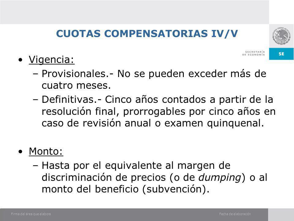 Fecha de elaboraciónFirma del área que elabora CUOTAS COMPENSATORIAS IV/V Vigencia: –Provisionales.- No se pueden exceder más de cuatro meses. –Defini