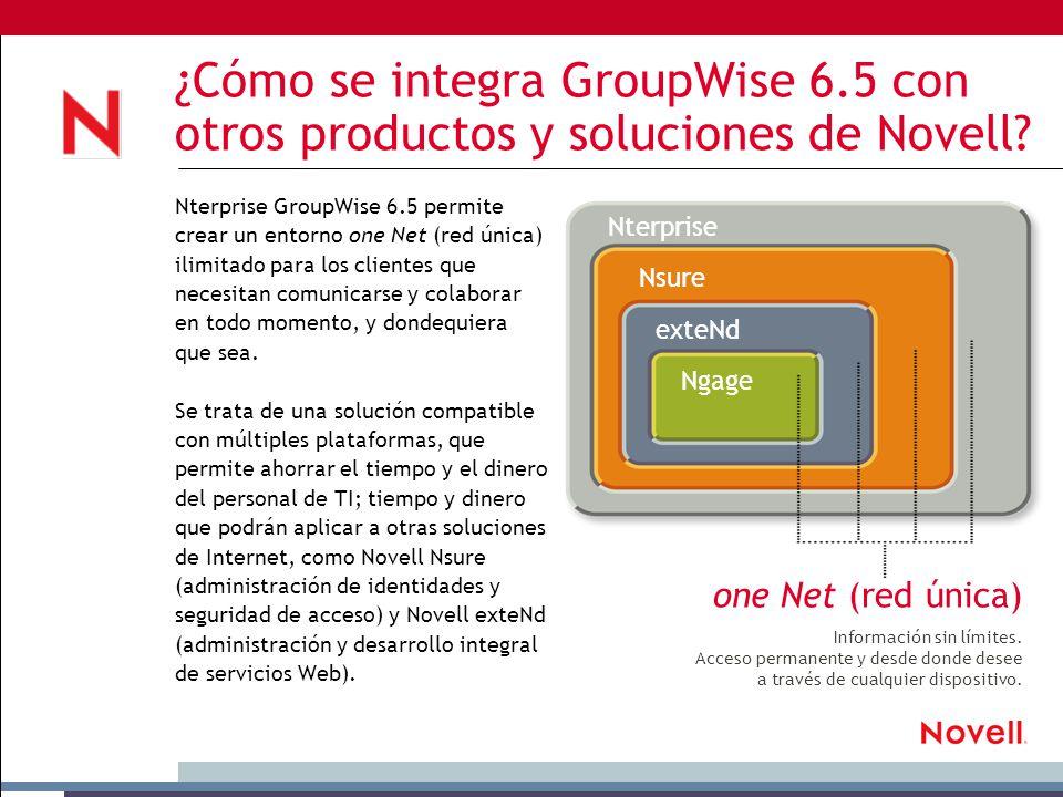 ¿Cómo se integra GroupWise 6.5 con otros productos y soluciones de Novell.