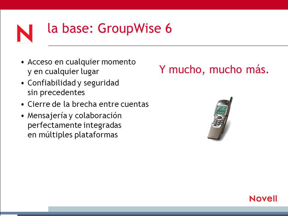 la base: GroupWise 6 Acceso en cualquier momento y en cualquier lugar Confiabilidad y seguridad sin precedentes Cierre de la brecha entre cuentas Mensajería y colaboración perfectamente integradas en múltiples plataformas Y mucho, mucho más.