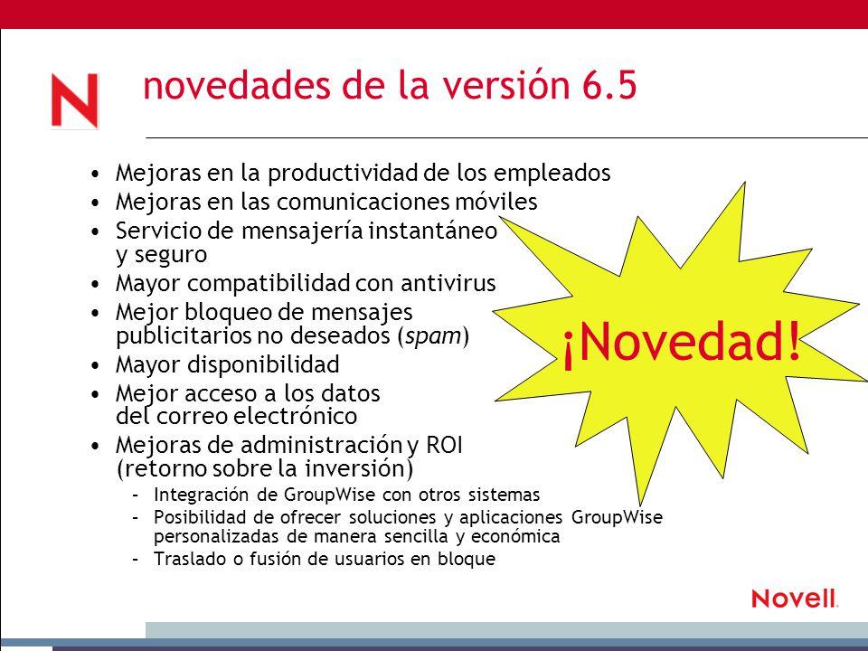 novedades de la versión 6.5 ¡Novedad.