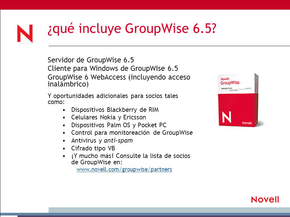 ¿qué incluye GroupWise 6.5.
