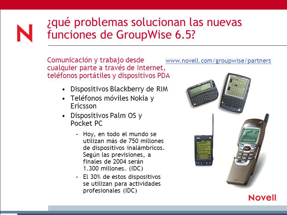 ¿qué problemas solucionan las nuevas funciones de GroupWise 6.5.