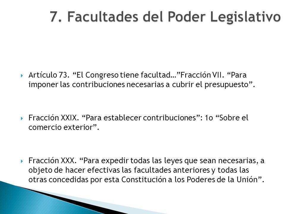 Artículo 73. El Congreso tiene facultad…Fracción VII. Para imponer las contribuciones necesarias a cubrir el presupuesto. Fracción XXIX. Para establec