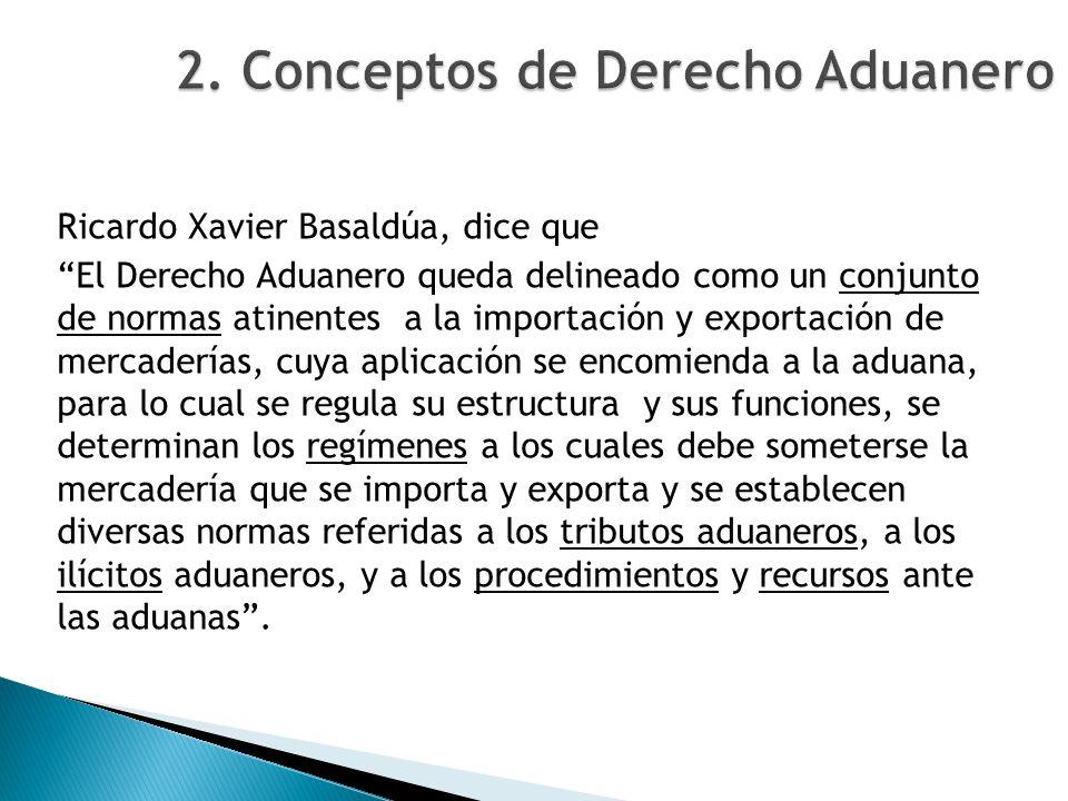 Ricardo Xavier Basaldúa, dice que El Derecho Aduanero queda delineado como un conjunto de normas atinentes a la importación y exportación de mercaderí