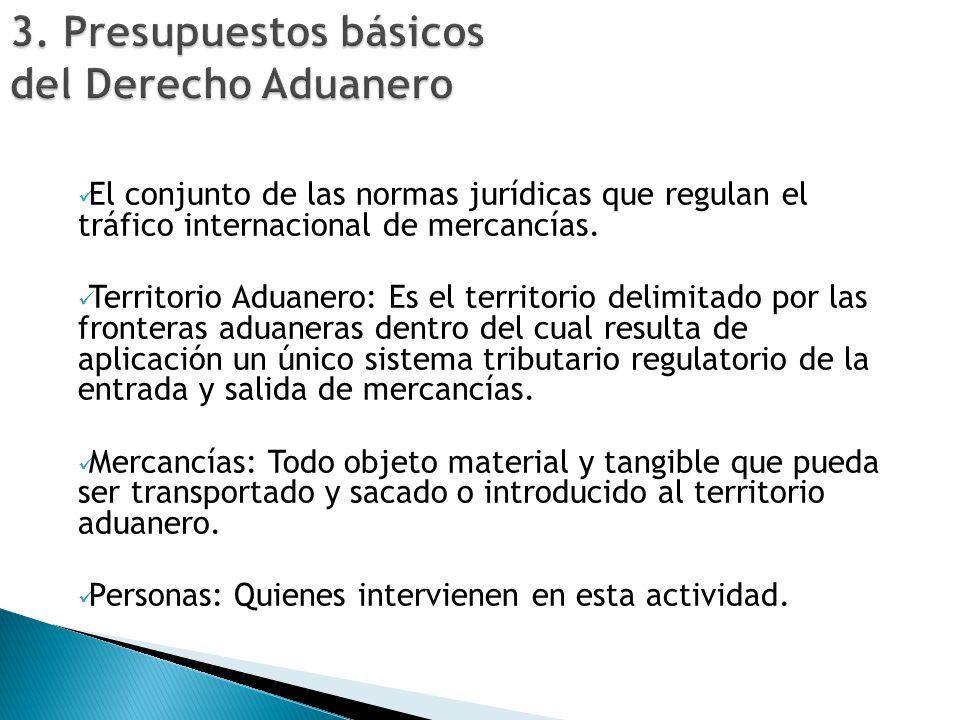 El conjunto de las normas jurídicas que regulan el tráfico internacional de mercancías. Territorio Aduanero: Es el territorio delimitado por las front