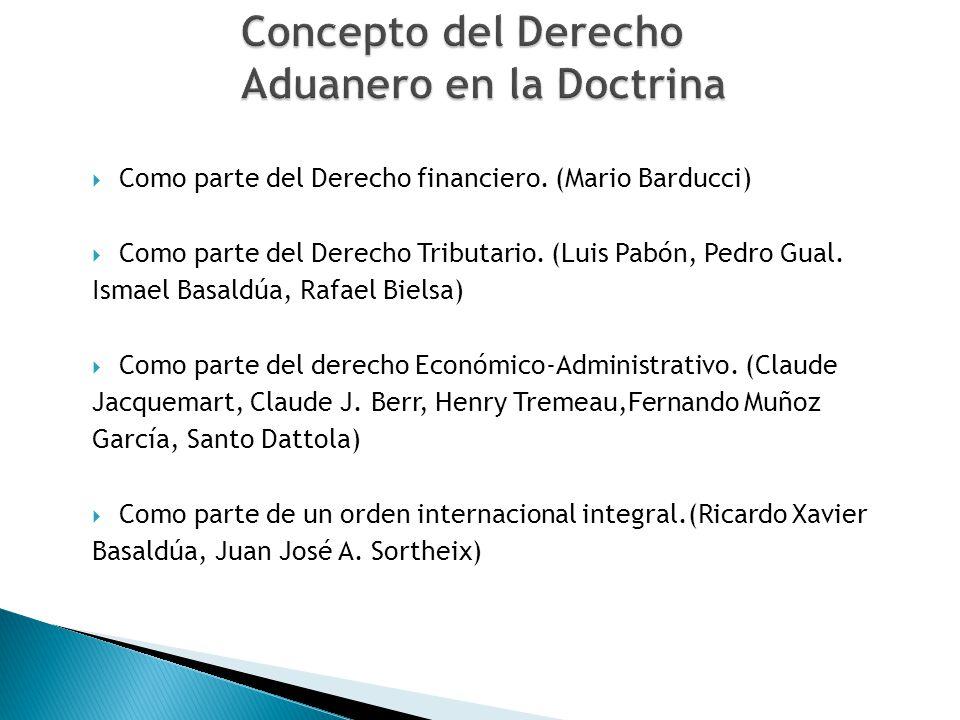 Como parte del Derecho financiero. (Mario Barducci) Como parte del Derecho Tributario. (Luis Pabón, Pedro Gual. Ismael Basaldúa, Rafael Bielsa) Como p