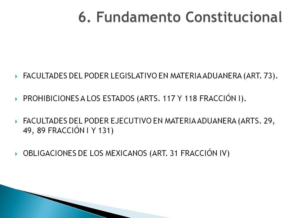 FACULTADES DEL PODER LEGISLATIVO EN MATERIA ADUANERA (ART. 73). PROHIBICIONES A LOS ESTADOS (ARTS. 117 Y 118 FRACCIÓN I). FACULTADES DEL PODER EJECUTI