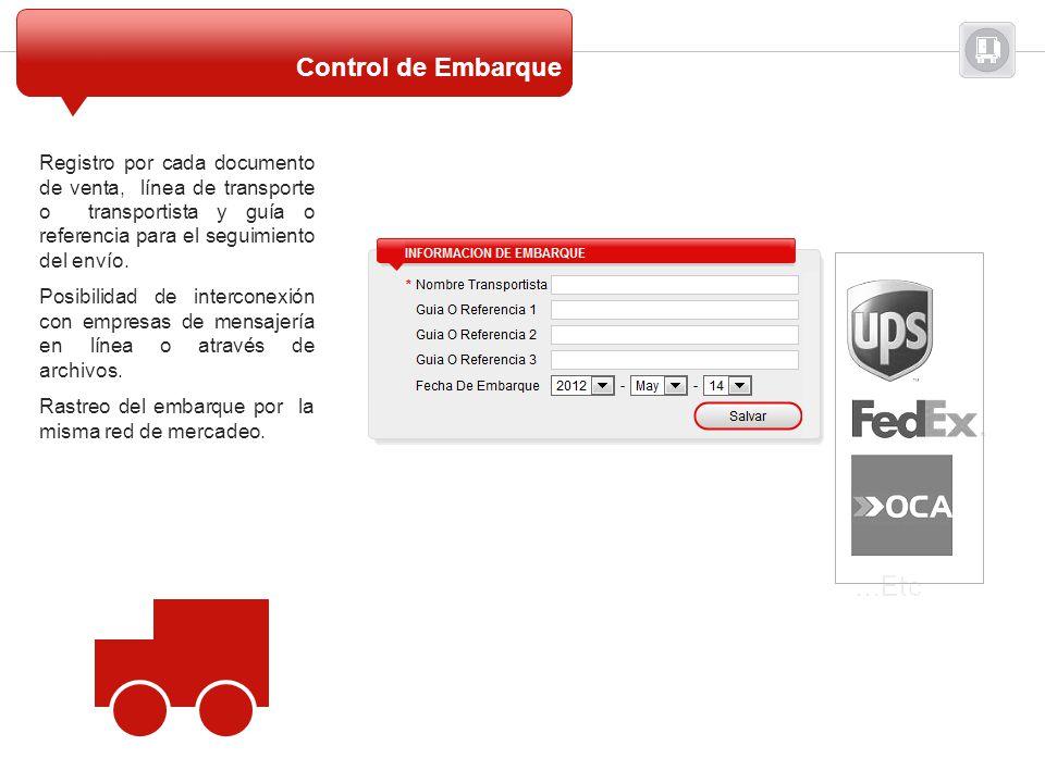 Registro por cada documento de venta, línea de transporte o transportista y guía o referencia para el seguimiento del envío. Posibilidad de interconex