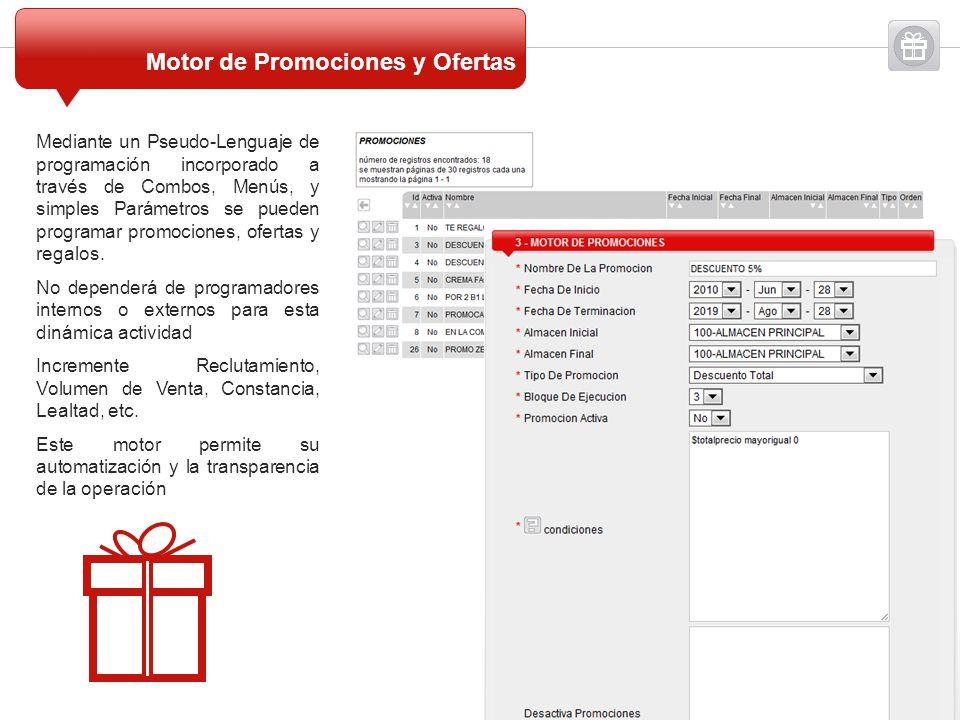 Mediante un Pseudo-Lenguaje de programación incorporado a través de Combos, Menús, y simples Parámetros se pueden programar promociones, ofertas y reg