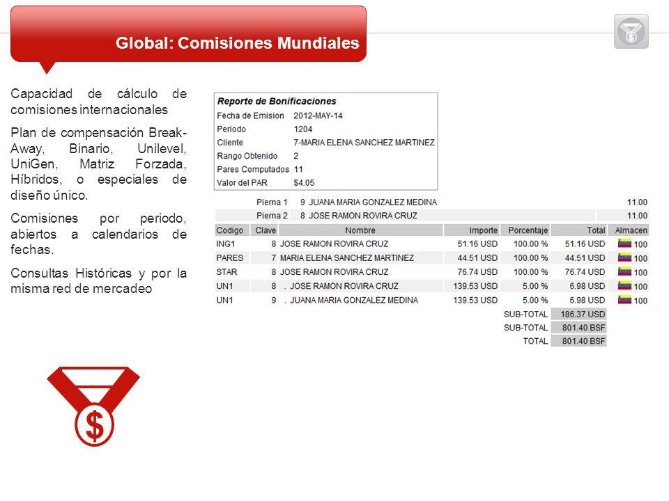 Capacidad de cálculo de comisiones internacionales Plan de compensación Break- Away, Binario, Unilevel, UniGen, Matriz Forzada, Híbridos, o especiales