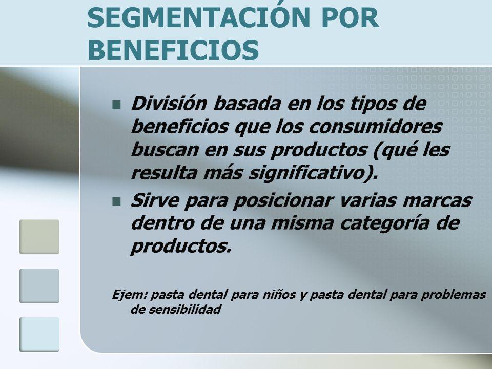 SEGMENTACIÓN POR BENEFICIOS División basada en los tipos de beneficios que los consumidores buscan en sus productos (qué les resulta más significativo).