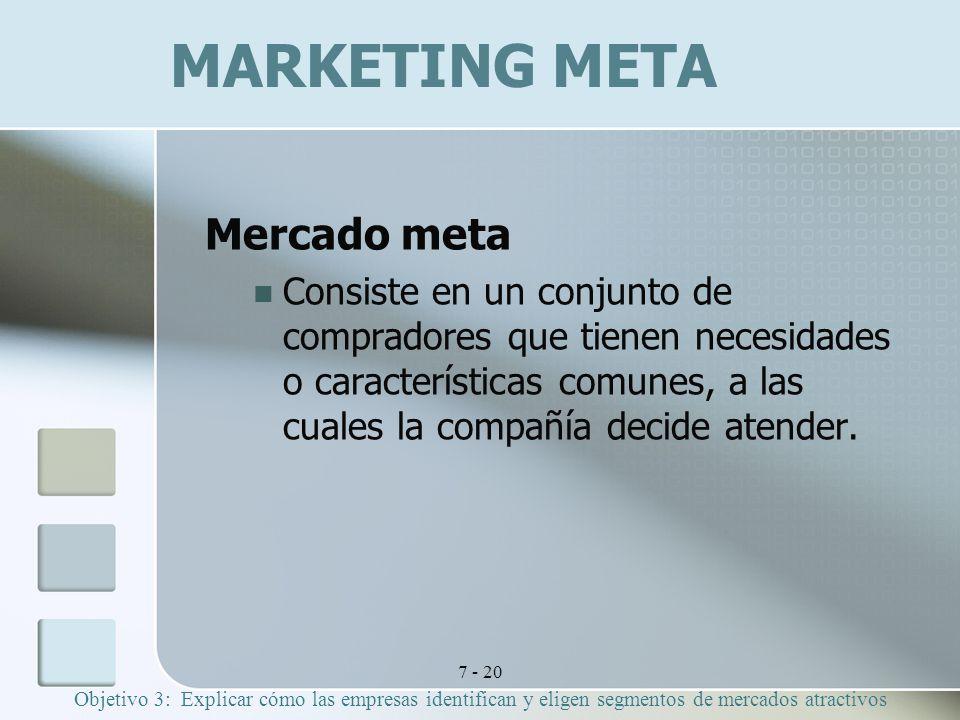 7 - 20 MARKETING META Mercado meta Consiste en un conjunto de compradores que tienen necesidades o características comunes, a las cuales la compañía decide atender.
