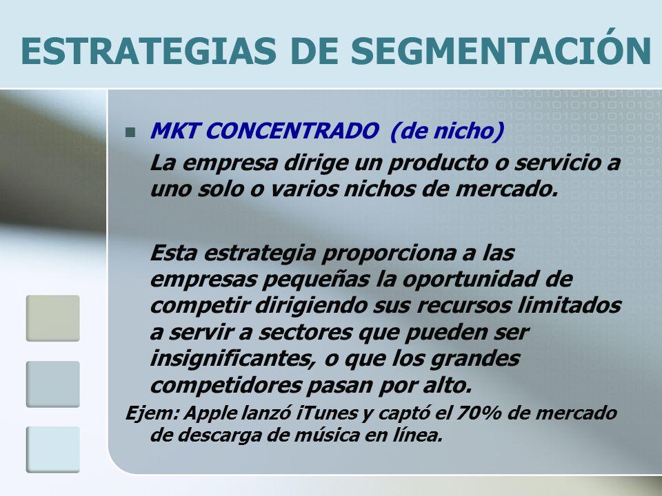 ESTRATEGIAS DE SEGMENTACIÓN MKT CONCENTRADO (de nicho) La empresa dirige un producto o servicio a uno solo o varios nichos de mercado. Esta estrategia