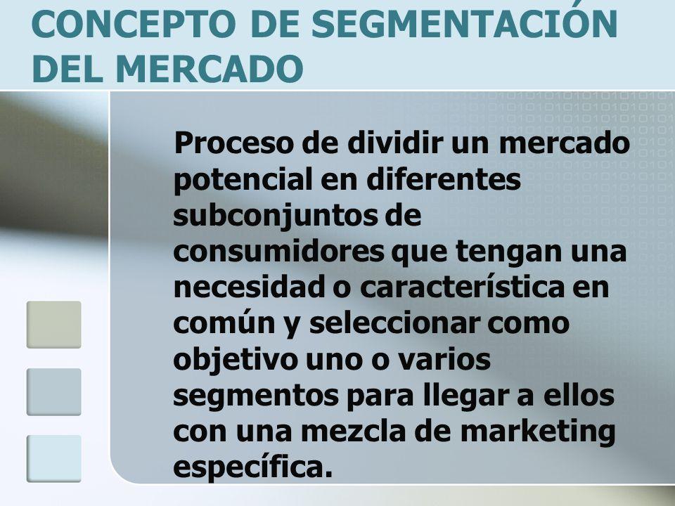 CONCEPTO DE SEGMENTACIÓN DEL MERCADO Proceso de dividir un mercado potencial en diferentes subconjuntos de consumidores que tengan una necesidad o característica en común y seleccionar como objetivo uno o varios segmentos para llegar a ellos con una mezcla de marketing específica.