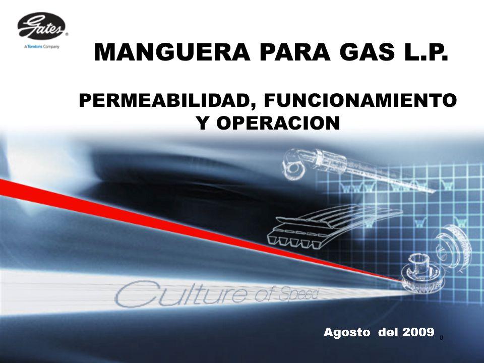 0 Agosto del 2009 MANGUERA PARA GAS L.P. PERMEABILIDAD, FUNCIONAMIENTO Y OPERACION