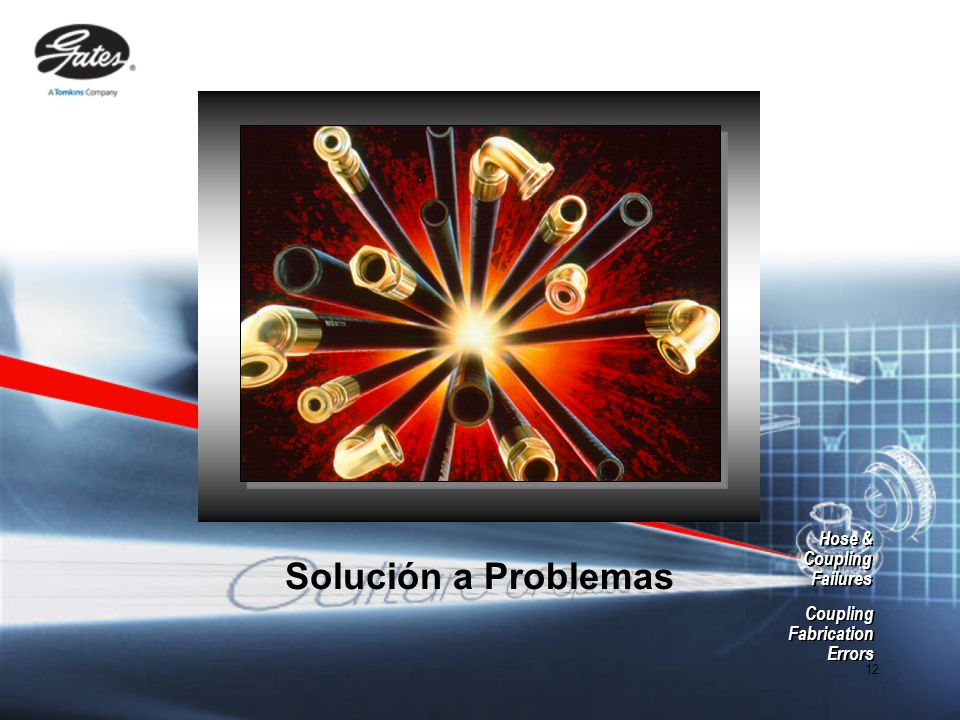 12 Solución a Problemas Hose & Coupling Failures Hose & Coupling Failures Coupling Fabrication Errors Coupling Fabrication Errors