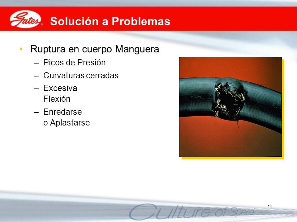 14 Solución a Problemas Ruptura en cuerpo Manguera –Picos de Presión –Curvaturas cerradas –Excesiva Flexión –Enredarse o Aplastarse