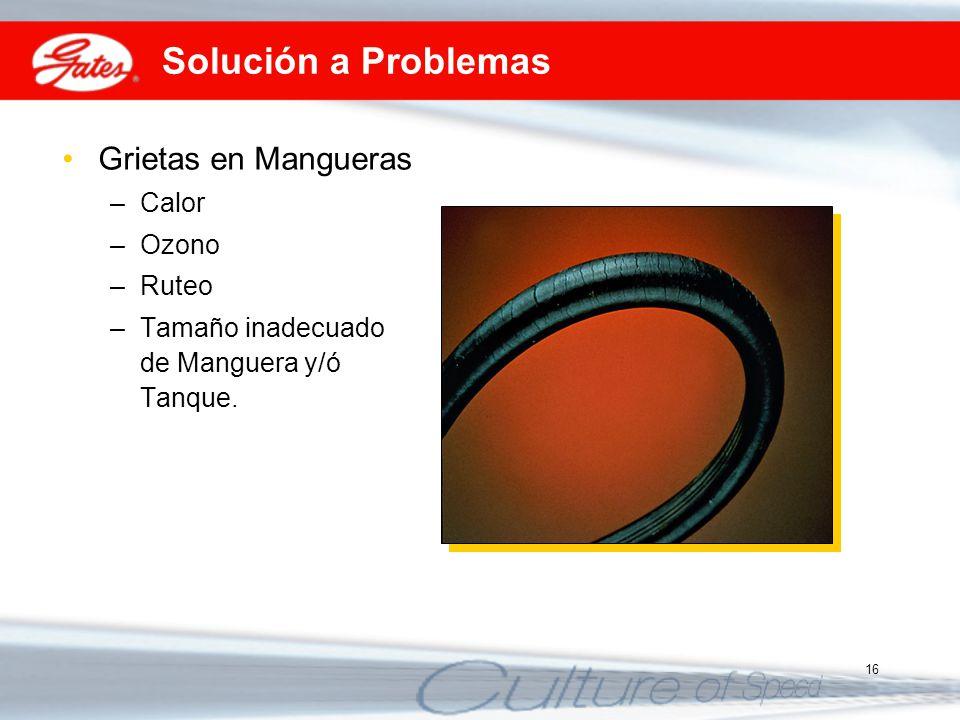 16 Solución a Problemas Grietas en Mangueras –Calor –Ozono –Ruteo –Tamaño inadecuado de Manguera y/ó Tanque.