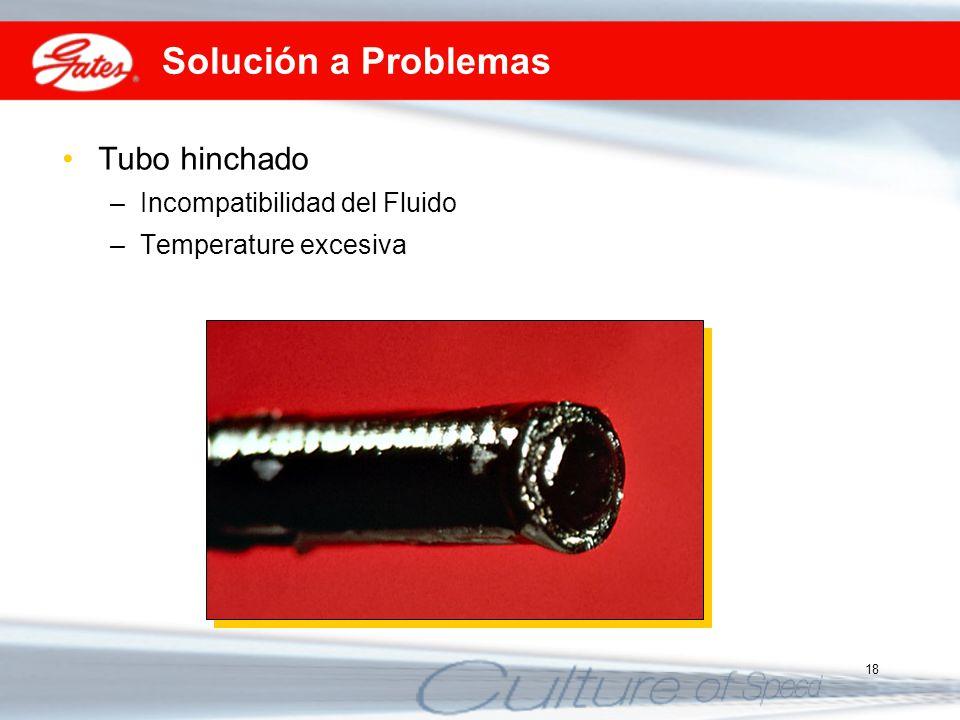 18 Solución a Problemas Tubo hinchado –Incompatibilidad del Fluido –Temperature excesiva