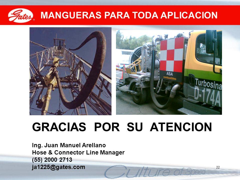 22 GRACIAS POR SU ATENCION Ing. Juan Manuel Arellano Hose & Connector Line Manager (55) 2000 2713 ja1225@gates.com MANGUERAS PARA TODA APLICACION