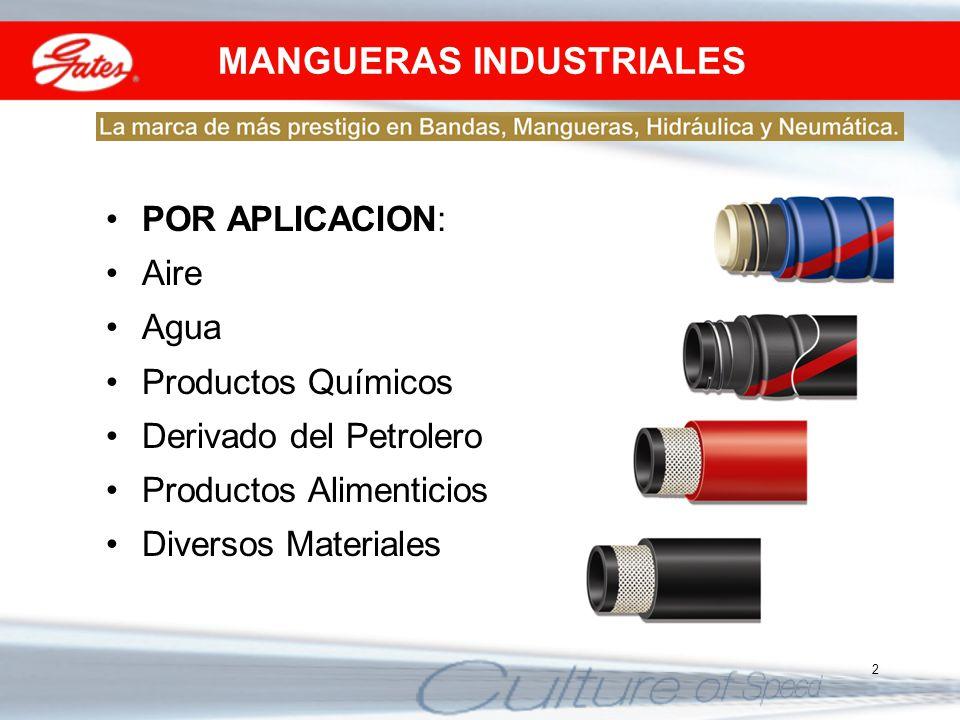 2 MANGUERAS INDUSTRIALES POR APLICACION: Aire Agua Productos Químicos Derivado del Petrolero Productos Alimenticios Diversos Materiales
