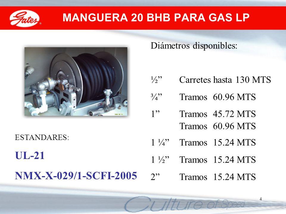4 Diámetros disponibles: ½Carretes hasta 130 MTS ¾Tramos 60.96 MTS 1Tramos 45.72 MTS Tramos 60.96 MTS 1 ¼ Tramos 15.24 MTS 1 ½ Tramos 15.24 MTS 2 Tram