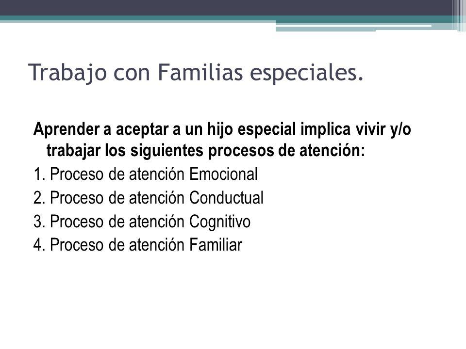 Trabajo con Familias especiales. Aprender a aceptar a un hijo especial implica vivir y/o trabajar los siguientes procesos de atención: 1. Proceso de a