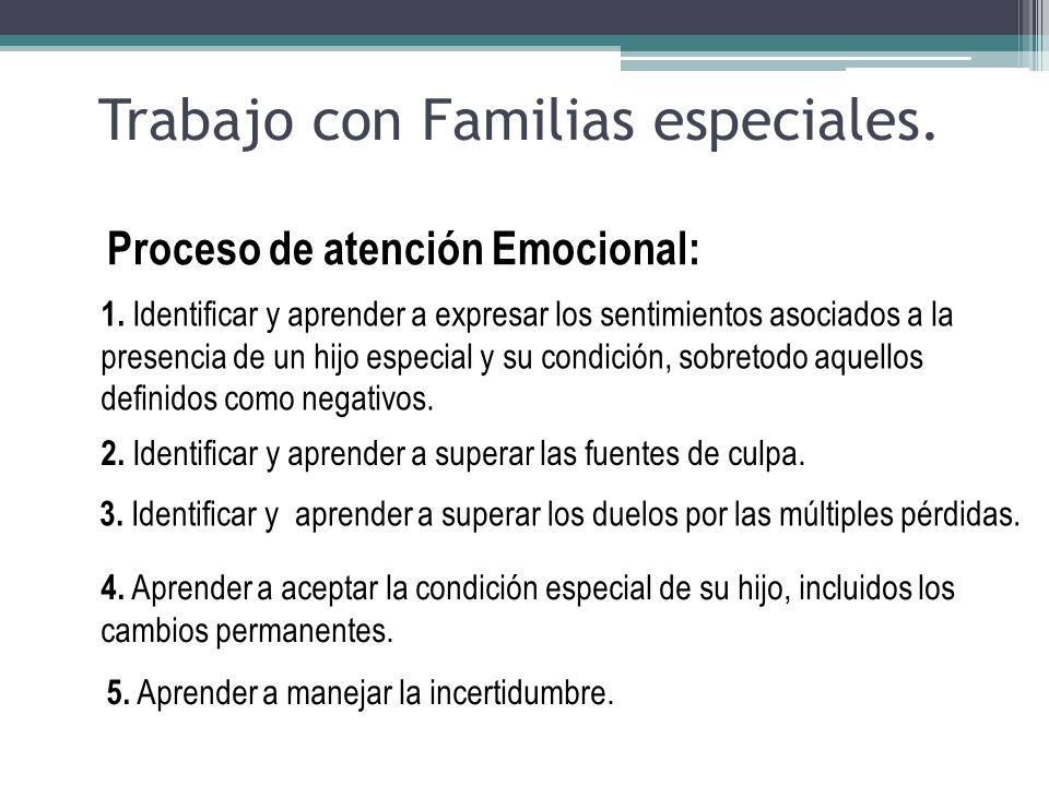 1. Identificar y aprender a expresar los sentimientos asociados a la presencia de un hijo especial y su condición, sobretodo aquellos definidos como n