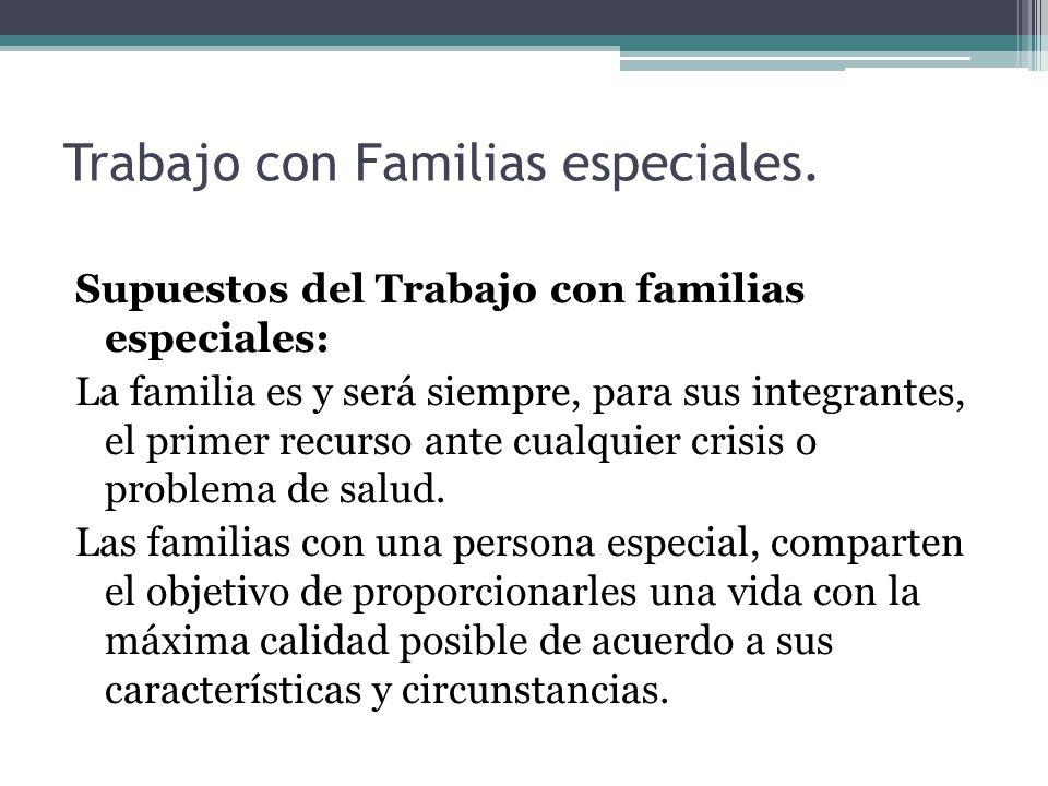 Trabajo con Familias especiales. Supuestos del Trabajo con familias especiales: La familia es y será siempre, para sus integrantes, el primer recurso