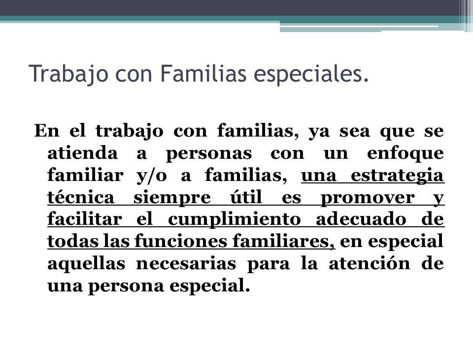 Trabajo con Familias especiales. En el trabajo con familias, ya sea que se atienda a personas con un enfoque familiar y/o a familias, una estrategia t
