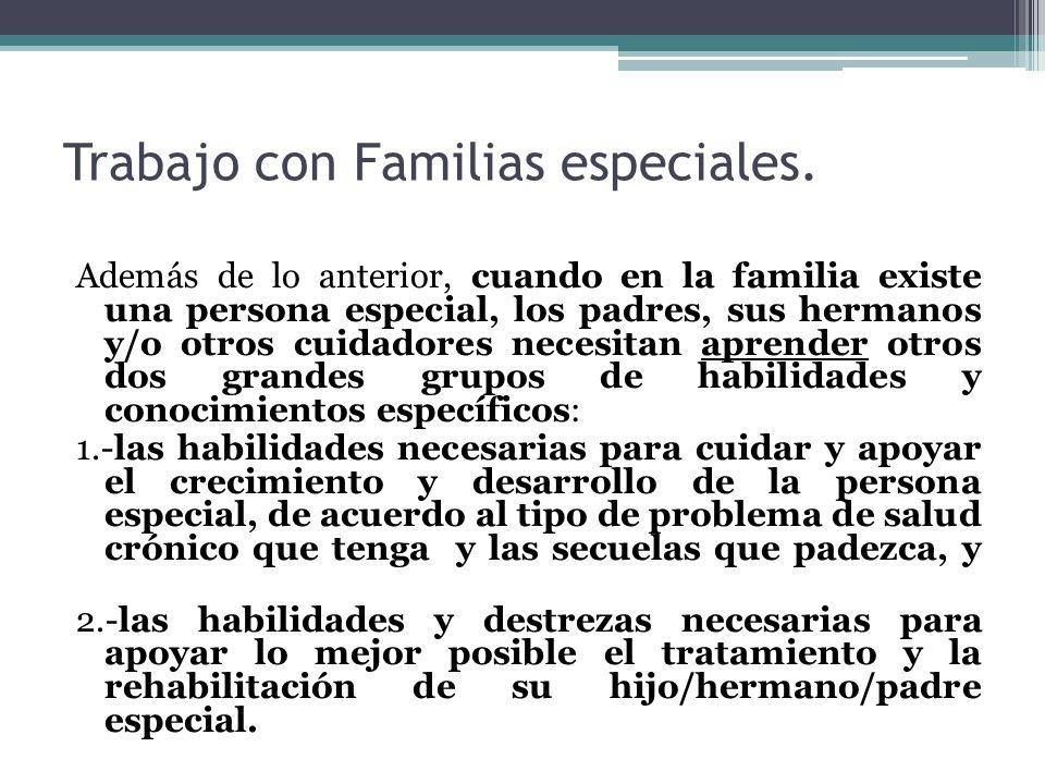 Trabajo con Familias especiales. Además de lo anterior, cuando en la familia existe una persona especial, los padres, sus hermanos y/o otros cuidadore