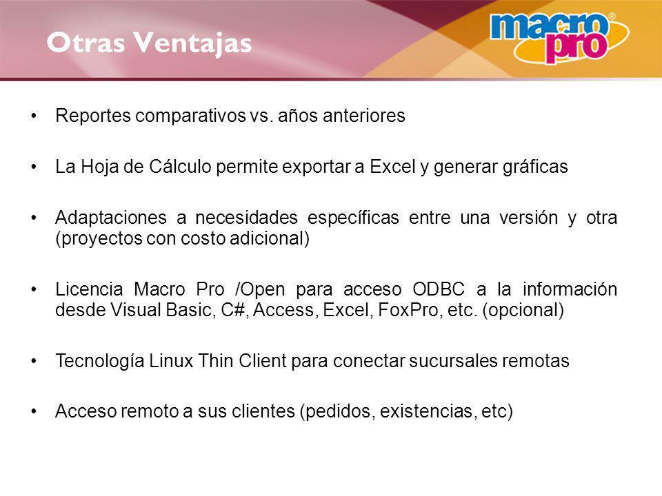 Otras Ventajas Reportes comparativos vs. años anteriores La Hoja de Cálculo permite exportar a Excel y generar gráficas Adaptaciones a necesidades esp