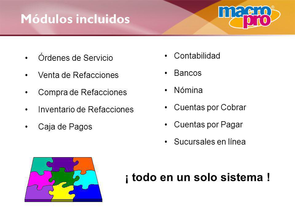 Módulos incluidos Órdenes de Servicio Venta de Refacciones Compra de Refacciones Inventario de Refacciones Caja de Pagos Contabilidad Bancos Nómina Cu