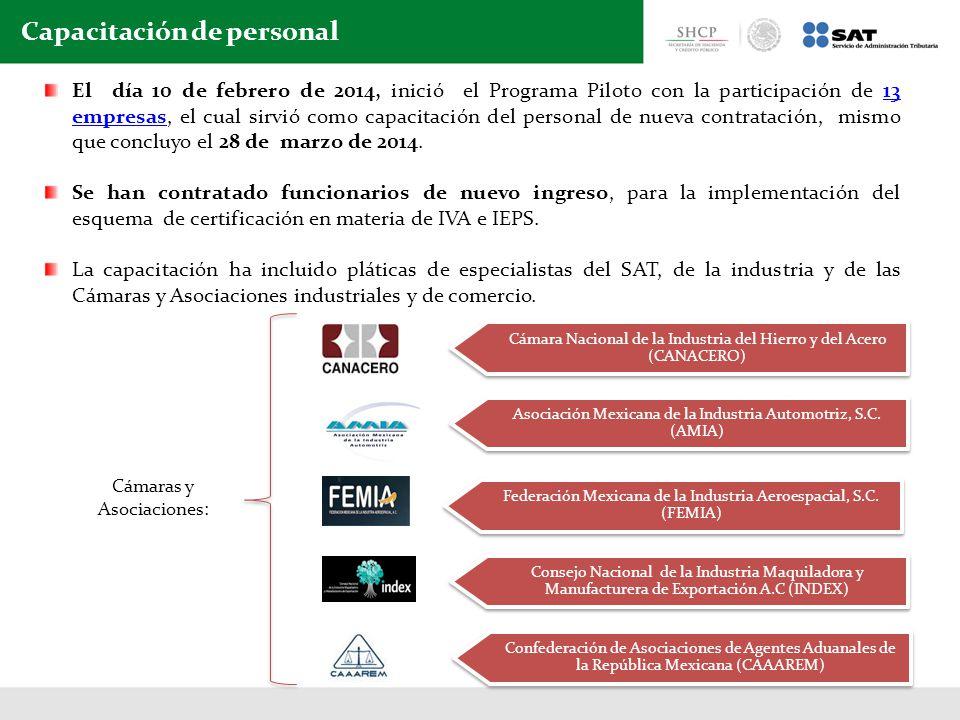 El día 10 de febrero de 2014, inició el Programa Piloto con la participación de 13 empresas, el cual sirvió como capacitación del personal de nueva contratación, mismo que concluyo el 28 de marzo de 2014.13 empresas Se han contratado funcionarios de nuevo ingreso, para la implementación del esquema de certificación en materia de IVA e IEPS.