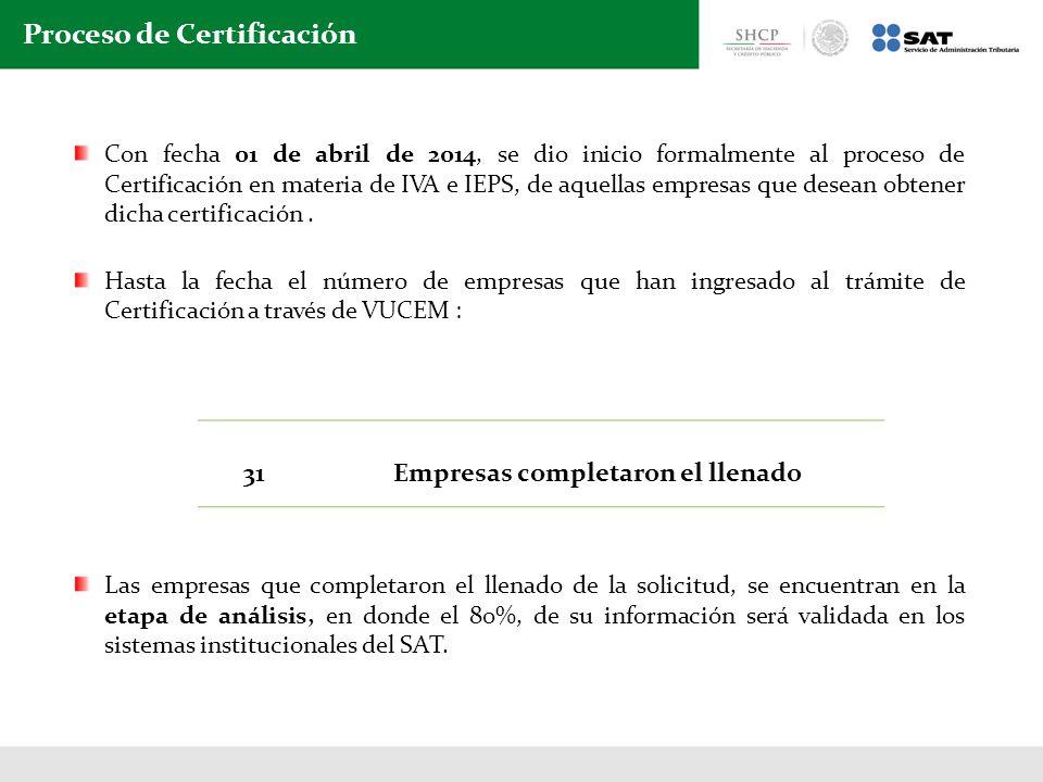 Con fecha 01 de abril de 2014, se dio inicio formalmente al proceso de Certificación en materia de IVA e IEPS, de aquellas empresas que desean obtener