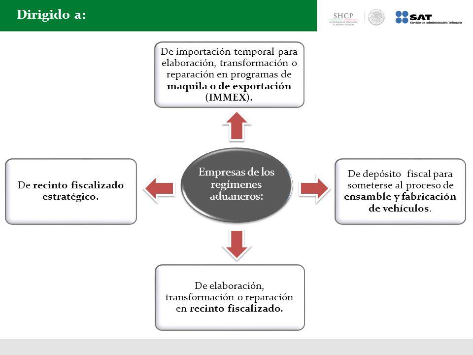 Dirigido a: De importación temporal para elaboración, transformación o reparación en programas de maquila o de exportación (IMMEX). De depósito fiscal