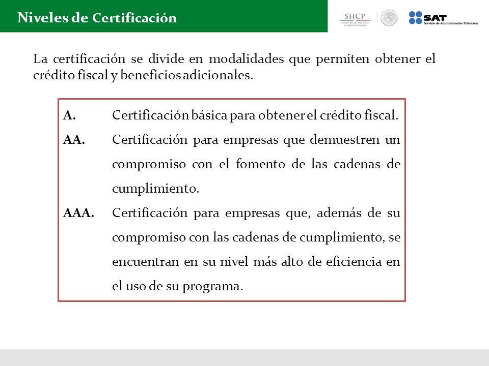 Niveles de Certificación A. Certificación básica para obtener el crédito fiscal. AA. Certificación para empresas que demuestren un compromiso con el f