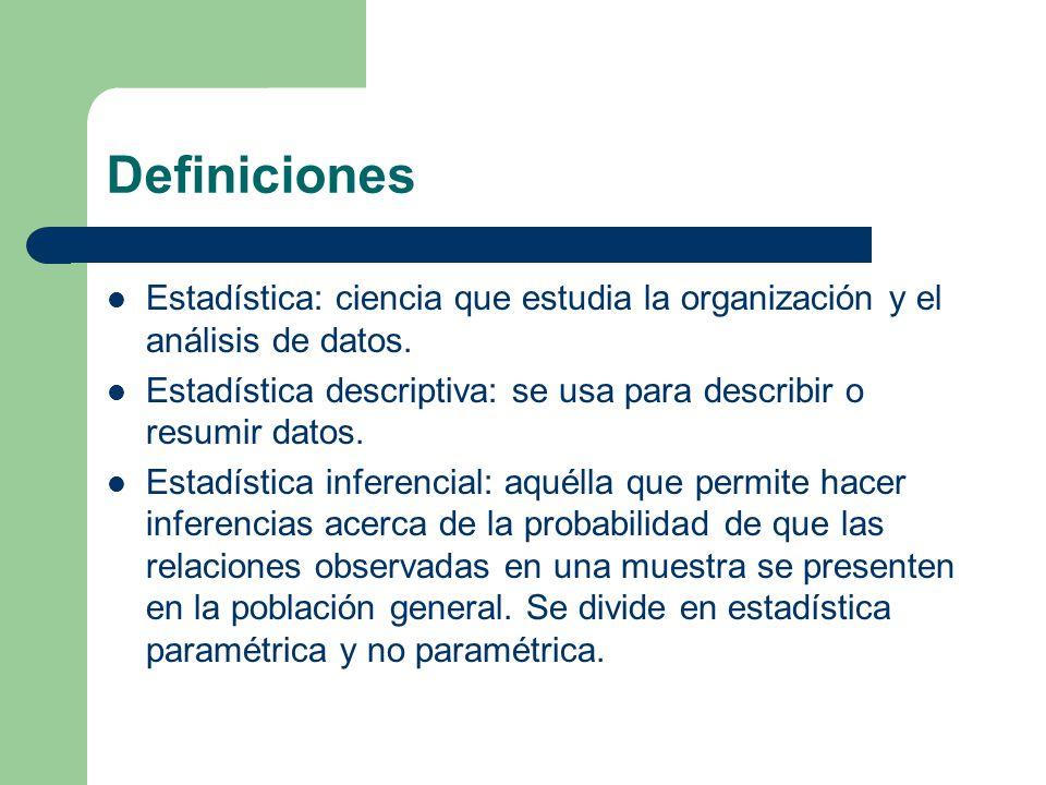Definiciones Estadística: ciencia que estudia la organización y el análisis de datos. Estadística descriptiva: se usa para describir o resumir datos.