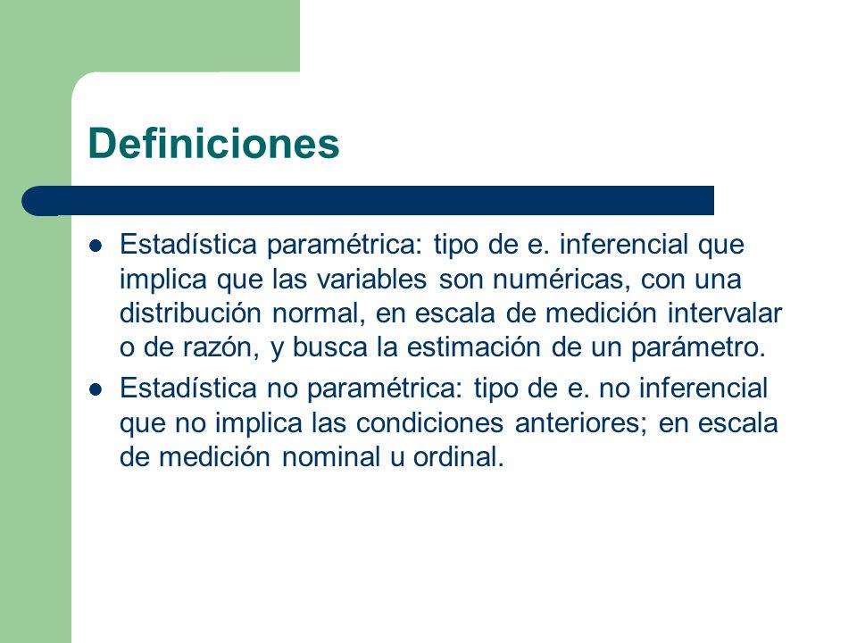 Definiciones Estadística paramétrica: tipo de e. inferencial que implica que las variables son numéricas, con una distribución normal, en escala de me