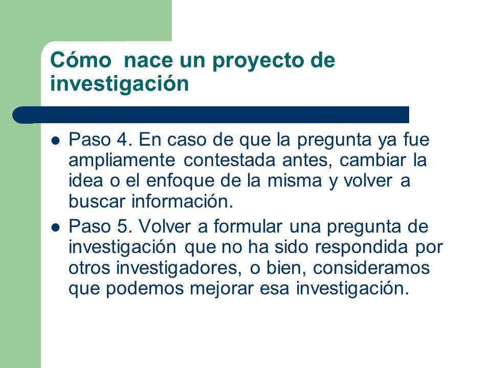 Cómo nace un proyecto de investigación Paso 4.