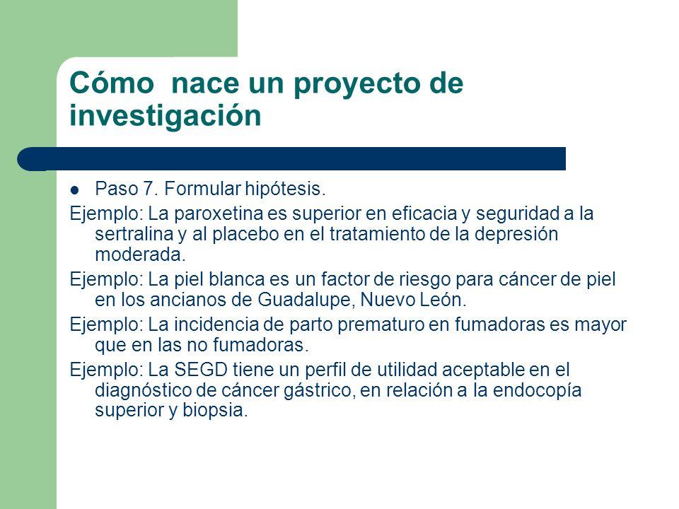 Cómo nace un proyecto de investigación Paso 7. Formular hipótesis. Ejemplo: La paroxetina es superior en eficacia y seguridad a la sertralina y al pla