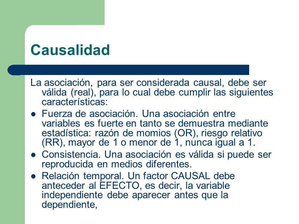 Causalidad La asociación, para ser considerada causal, debe ser válida (real), para lo cual debe cumplir las siguientes características: Fuerza de asociación.