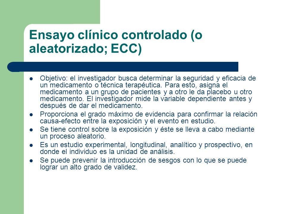 Ensayo clínico controlado (o aleatorizado; ECC) Objetivo: el investigador busca determinar la seguridad y eficacia de un medicamento o técnica terapéutica.